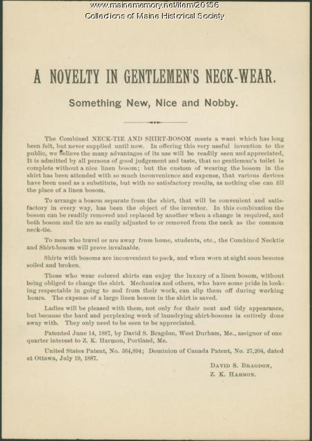 Men's neck wear 'novelty' ad, 1887