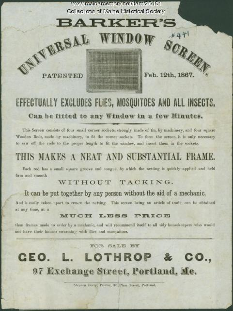 Window screen advertisement, Portland, 1867
