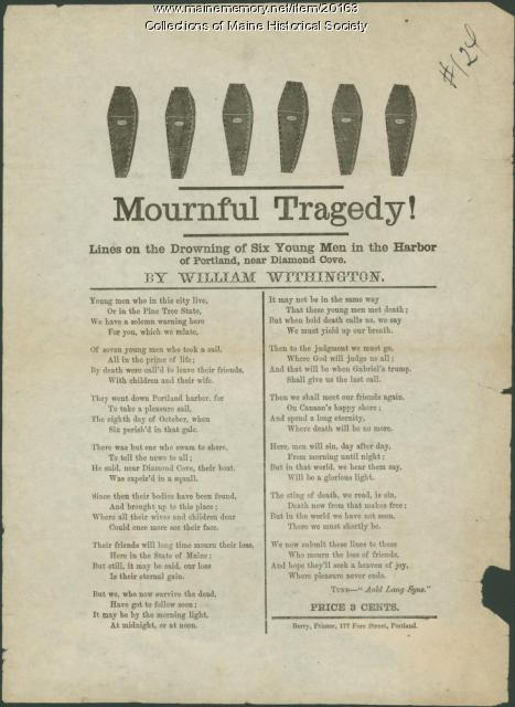 Ballad concerning drowning in Portland Harbor, ca. 1850