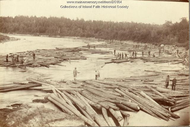 Log drive, Island Falls, ca. 1895