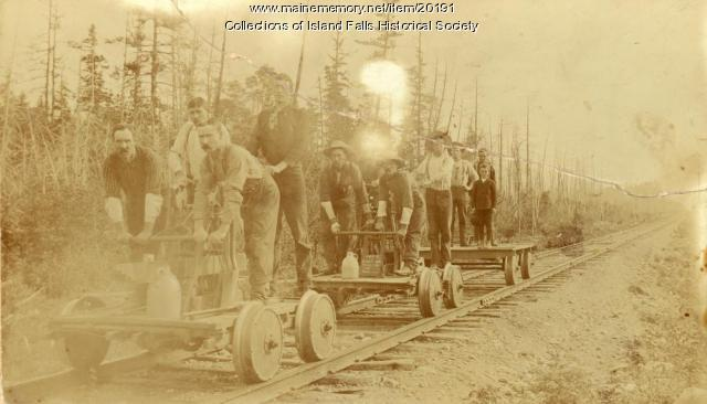 Handcars on Bangor and Aroostook Railroad, Island Falls, ca. 1895
