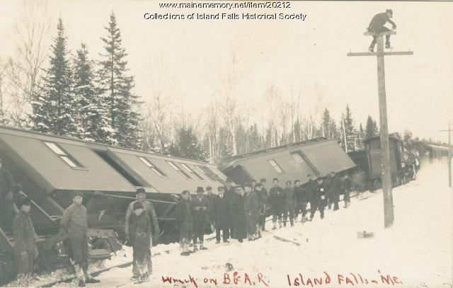 Train wreck in Island Falls, ca. 1910