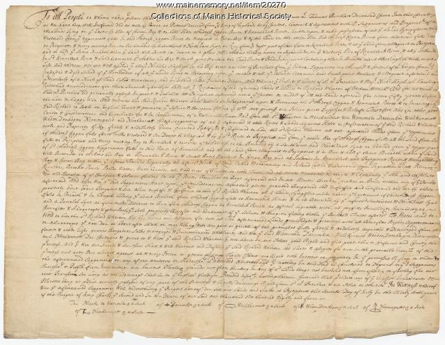 Indian deed granting lands to Richard Wharton, 1684