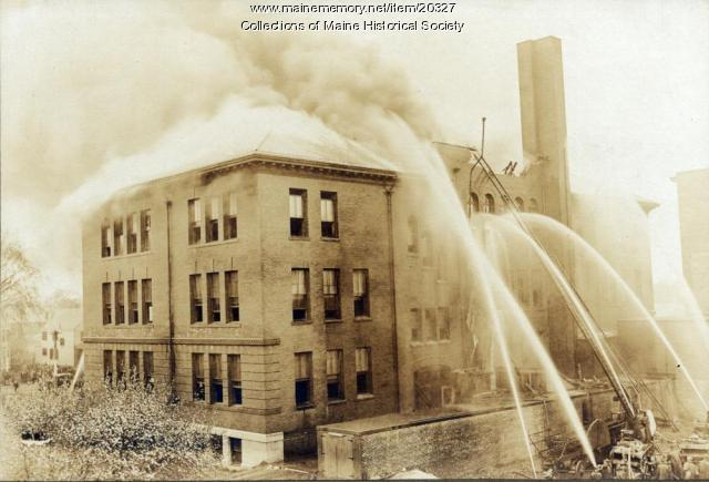 Fire, Deering High School, Portland, 1921