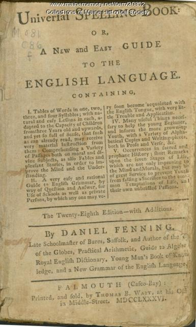 First book printed in Maine, Falmouth, 1786