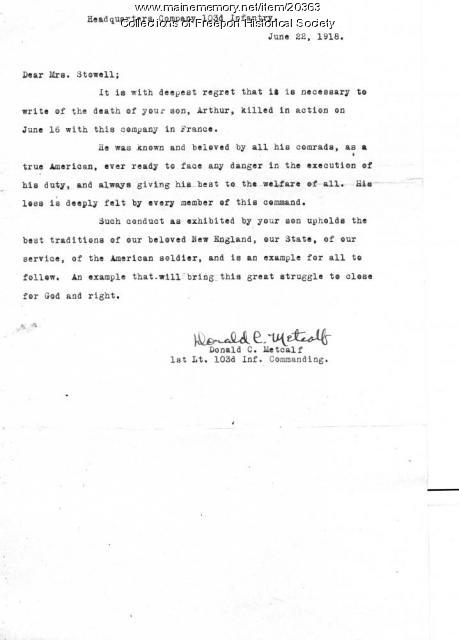 Letter to Emma Stowell regarding death of her son, 1918