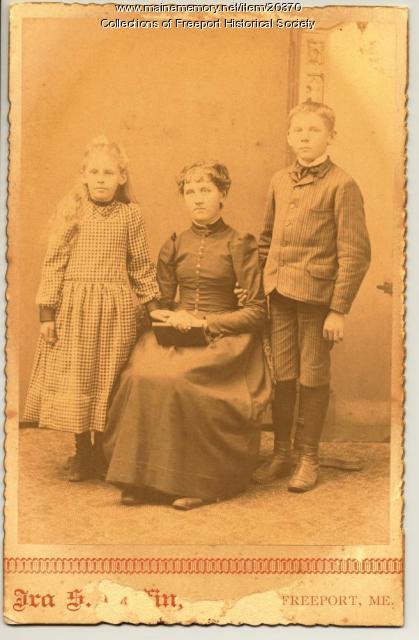 Mildred, Ethel and Frank Pettengill, Freeport, ca. 1890