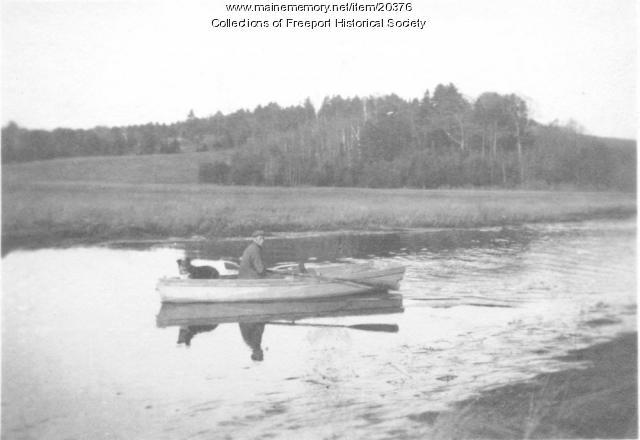 Frank Pettengill and Trixie, Harraseeket River, Freeport, ca. 1920
