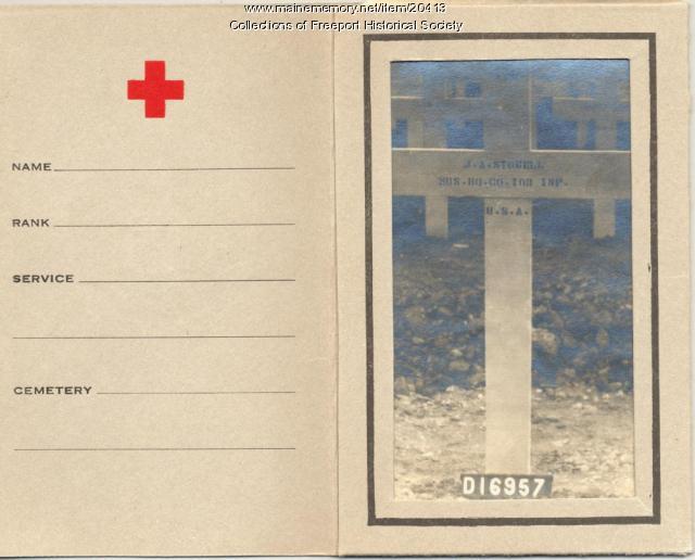 Burial site card for John Arthur Stowell, 1918