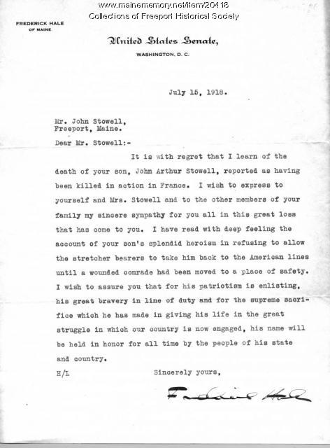 Frederick Hale letter to John Stowell, 1918