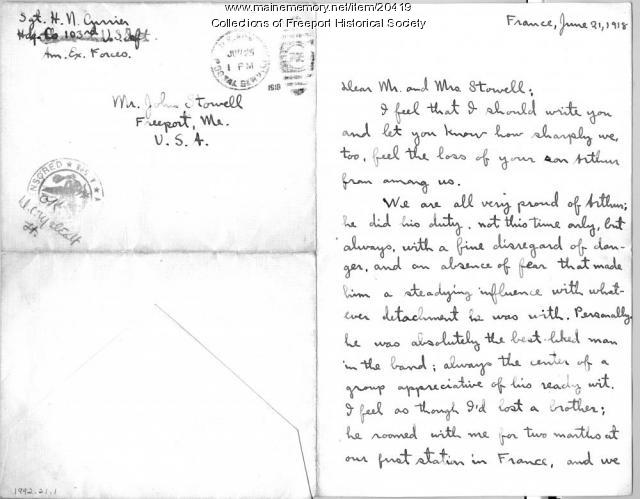 Currier letter on death of John Arthur Stowell, 1918