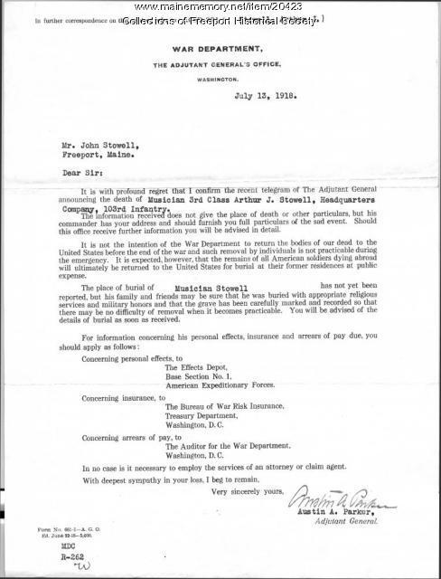 Letter confirming death of John Arthur Stowell, 1918