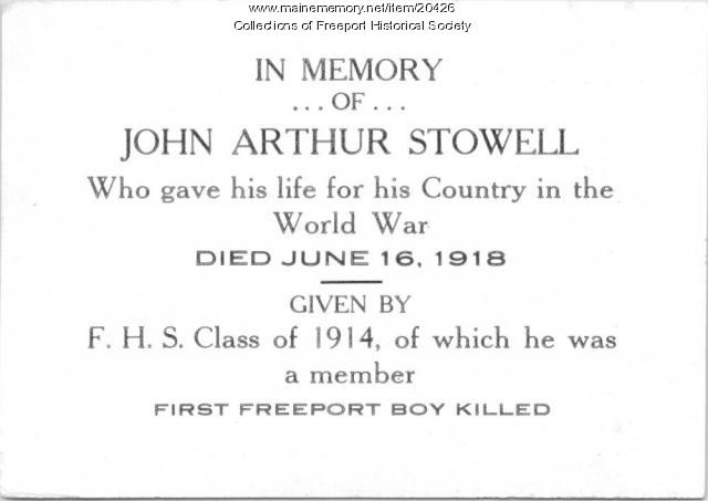 Memorial card for John Arthur Stowell, 1919