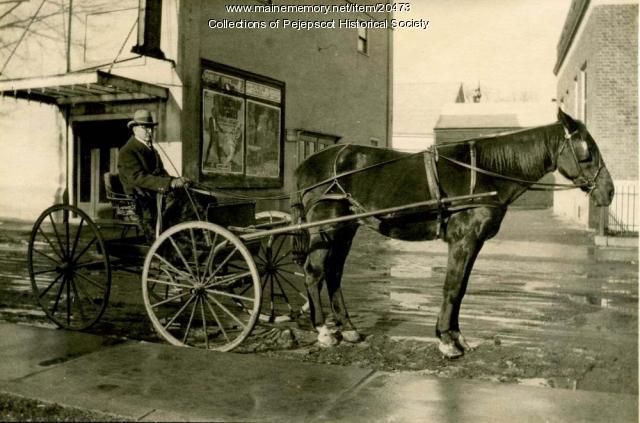 Dr. Cumston in horse drawn wagon
