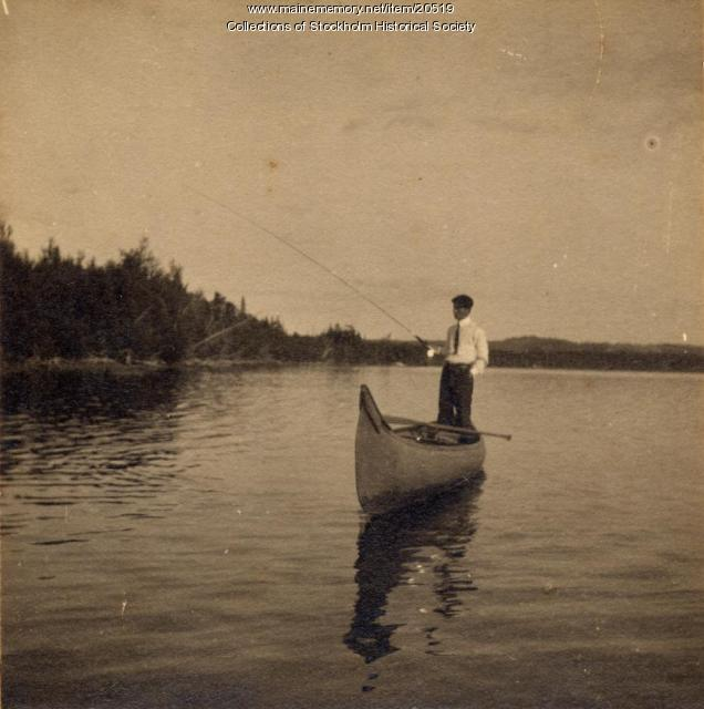 Peter Carlstrom fishing, Madawaska Lake, ca. 1915