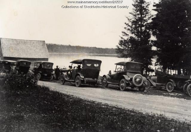 Automobiles at Madawaska Lake, T16 R4, ca. 1920