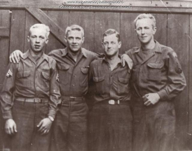 New Sweden men meet during World War II, Germany, 1945