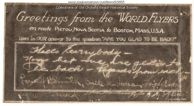 World Flyers greeting, Old Orchard, 1924