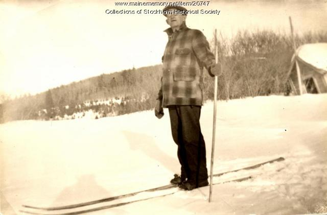 Conrad Hede on skis, Stockholm,  ca. 1920