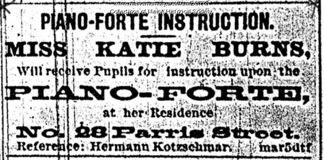 Piano instruction advertisement, Portland, 1878