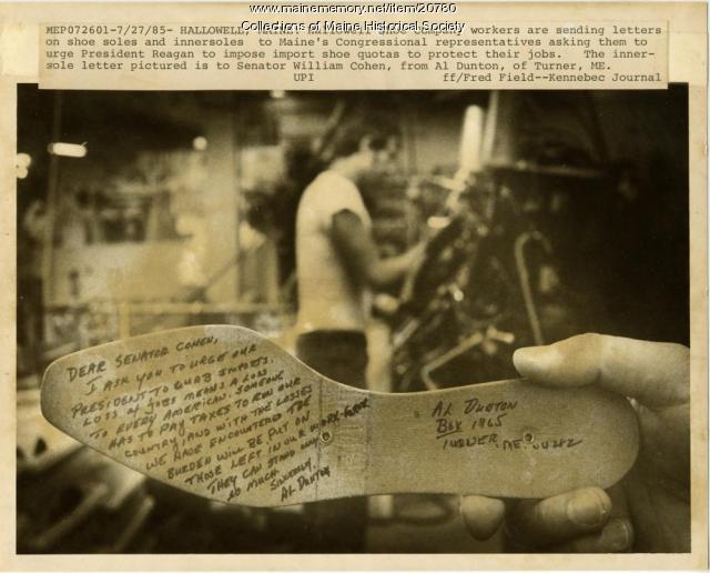 Shoe worker letter, 1985