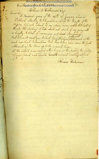 Letter concerning Vinalhaven history, 1821