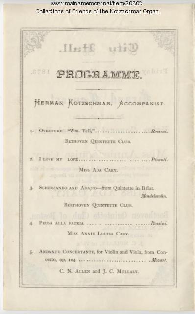 Program, benefit concert, Portland, 1873