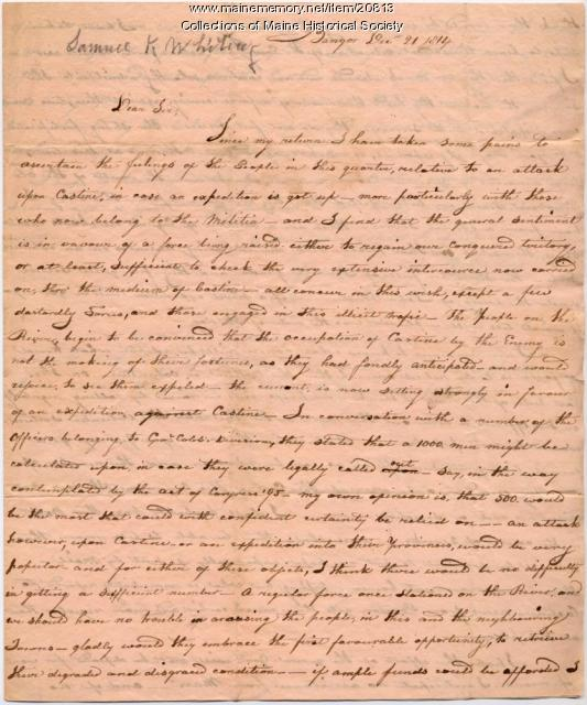 Samuel Whiting letter on occupation of Castine, 1814