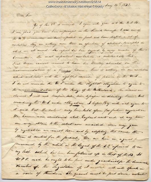 Jarvis letter concerning Maine boundaries, 1832