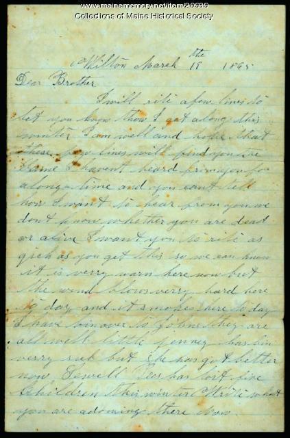 Letter to Francis Pratt from family, 1865