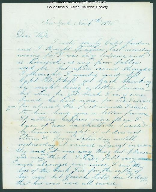 John Dillingham letter to wife, 1846