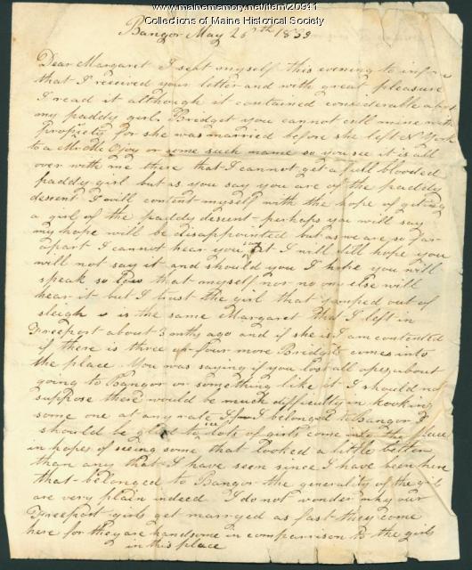 John Dillingham to Margaret Dennison, 1839