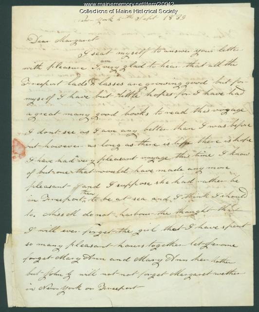 John Dillingham letter from New York, 1839