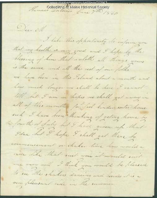 John Dillingham letter from Puerto Rico, 1840