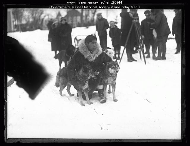 Kingiak with sled dogs, Poland Spring, 1927