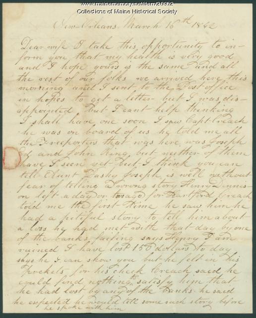 John Dillingham letter from New Orleans, 1842