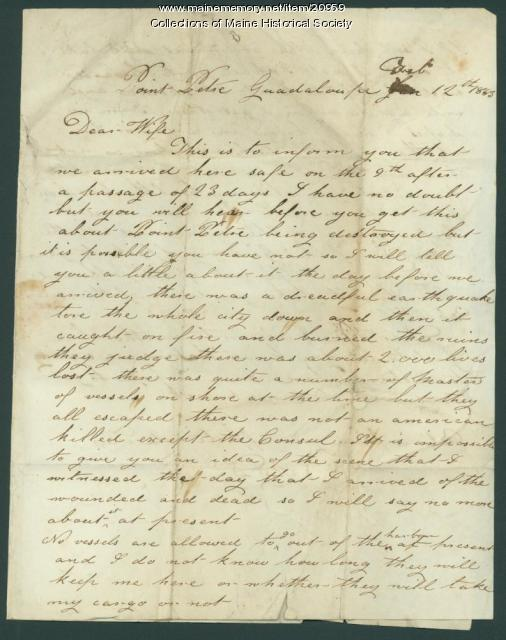 John Dillingham letter about Guadeloupe earthquake, 1843