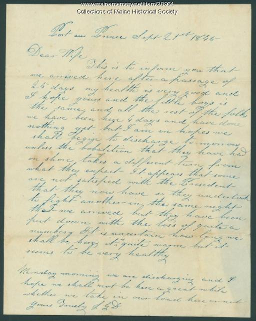Capt. John Dillingham letter from Port au Prince, Haiti, 1845