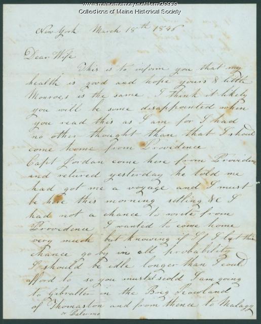 John Dillingham to wife, 1846
