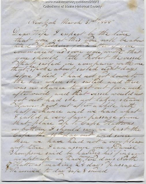 John Dillingham letter concerning sailing prospects, 1848