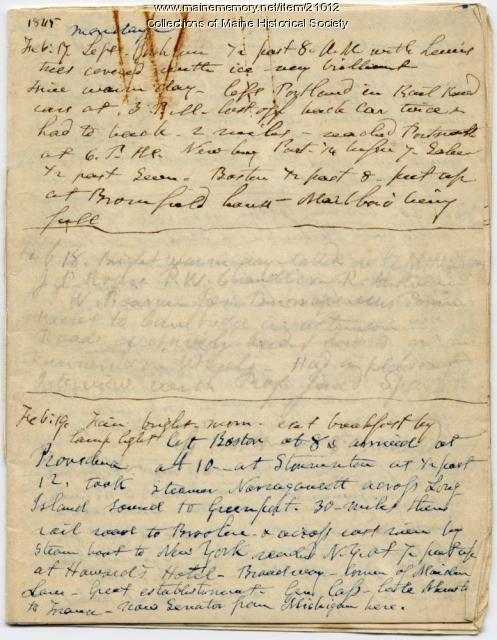 Josiah Pierce account of trip to Washington, 1845