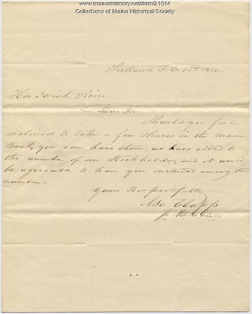 Asa Clapp to Josiah Pierce, 1836