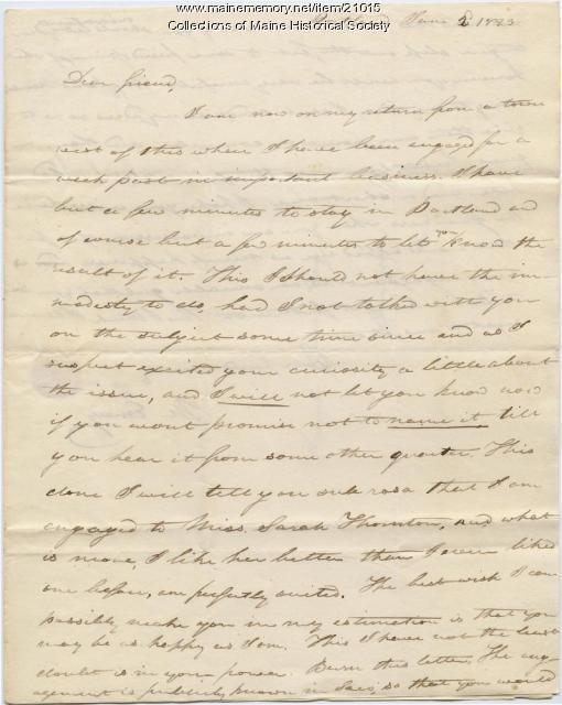 Moses Emery to Josiah Pierce, Portland, 1823