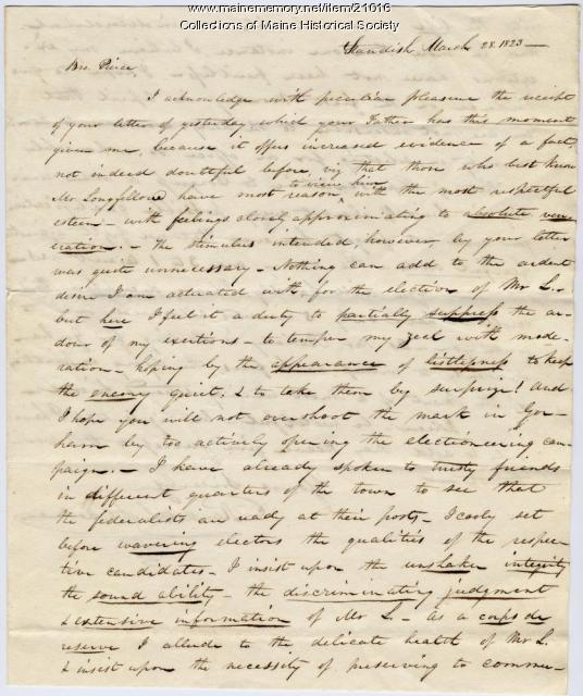 Randolph Codman letter on Stephen Longfellow election campaign, 1823