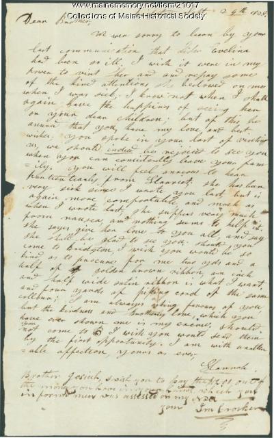Hannah Pierce to brother, Bridgton, 1828