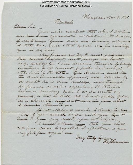 Hannibal Hamlin letter to Josiah Pierce, 1845