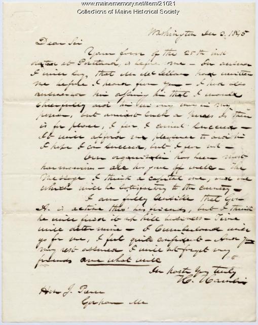 Hannibal Hamlin to Josiah Pierce, 1845