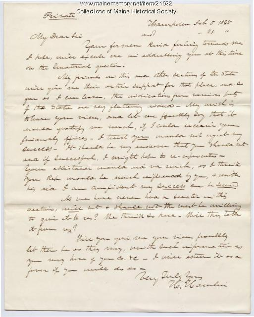 Hannibal Hamlin letter seeking election advice, 1848