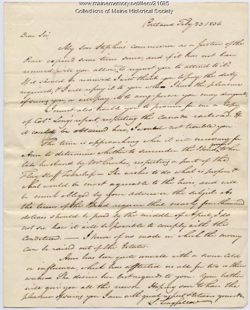 Stephen Longfellow to Josiah Pierce, 1836