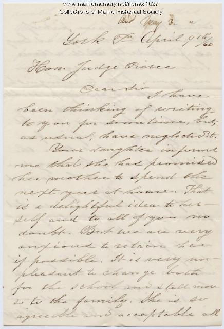 Letter concerning Nancy Pierce teaching position, 1860